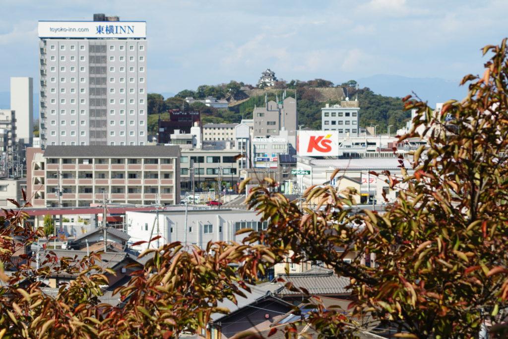 天寧寺から彦根城と城下町を望む
