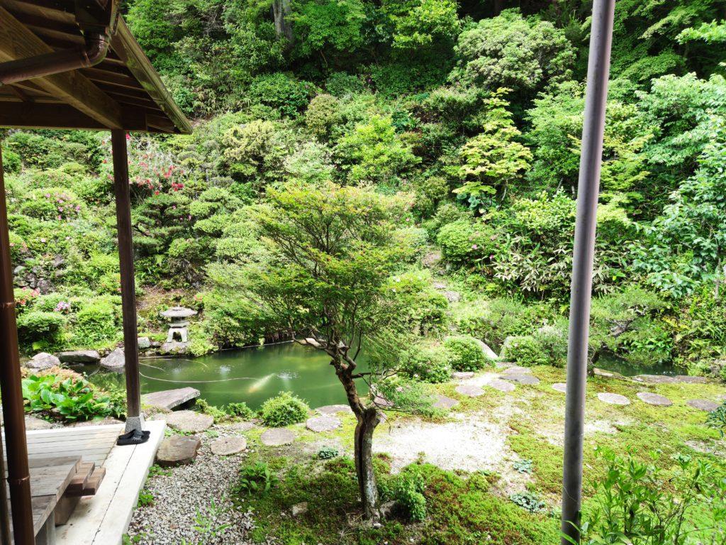 龍済寺本堂裏の庭園